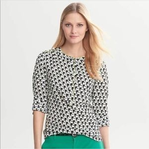 Banana Republic | Bird Print Black White Blouse